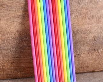 "Rainbow Lollipop Sticks, Small Rainbow Cake Pop Sticks, Plastic Lollipop Sticks, Lolly Sticks, Colored Lollipop Sticks  (4.5"" - 50ct)"