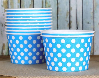 Large Polka Dot Blue Ice Cream Cups, Blue Ice Cream Bowls, Sundae Cups, Ice Cream Party Cups, Dessert Cups, 8 oz Paper Ice Cream Cups (18)