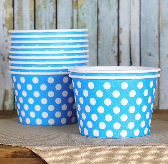 Large Blue Polka Dot Paper Ice Cream Cups, Ice Cream Bowls, Sundae Cups, Ice Cream Party Cups, Dessert Cups, 8 oz Ice Cream Party Cups (18)
