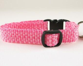 Kitty Cat Collar Hand Woven Breakaway Pink Speckle