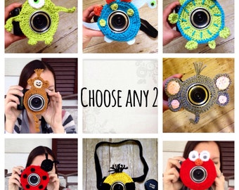 FREE SHIPPING camera lens buddy choose any two!  Crochet camera critter, shutter buddy.   DISCOUNT, Photo prop, gain kids attention