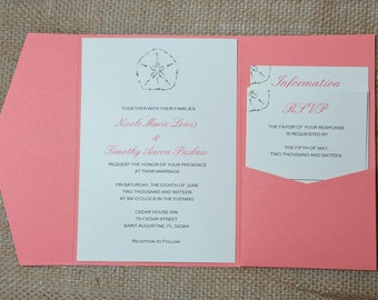Coral Sand Dollar Pocketfold Wedding Invitations - Beach Wedding Invitation- Coral Beach Invite - Tropical Wedding DEPOSIT to get started