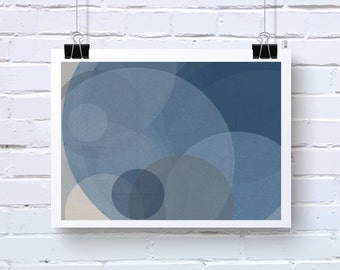 Blue and Grey Abstract Art. Generative Art based on Mathematics and Geometry. Scuba Blue and Dove Grey Office wall art. MysticRose015