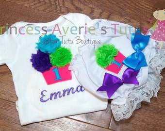 Matching Embroidered shirt and bloomers set. Newborn to 24months. 2 piece sets.