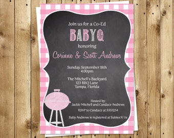 Chalkboard Baby Q Invitations, Barbeque Baby Shower, Sprinkle Invites, Girls, Gingham, 10 Printed, Free Shipping, CBBQG