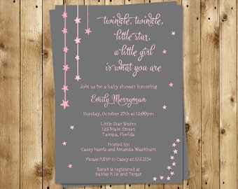 Twinkle Little Star Baby Shower Invitations, Girls,  Set of 10 Printed Invites, Free Shipping, TWSPK, Twinkle Star Gray, Pink & Gray