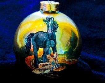 Hand Painted Ornament-Black Horse-Item 953