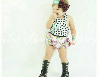 Halter Sunsuit Romper - Polka Dot and Floral- Baby Toddler Girl - Shorties - Perfect for Spring Summer - Pom Pom Accents