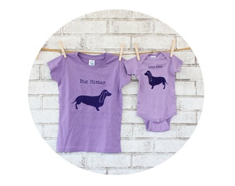 Dachshund Big Sister Little Sister Shirt Set, Youth Cotton Tshirt, Baby Onepiece, New Baby Gift, Sibling Matching Shirts, Wiener Dog, Purple