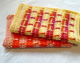 Sunshine Crocheted Washcloths Set of 2