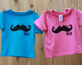 Mustache | Toddler and Youth T Shirt | Bicycle | Portland bike t shirt