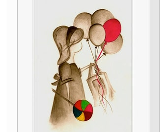 Art Print titled 'Yummy Fun', Nursery Art, Nursery Decor, Little Girls Room Decor, Balloons, Lolly Pop