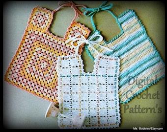 Crochet Bib Pattern - Three Bibs - PDF 05292626