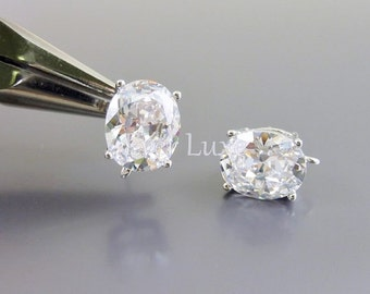 2 Simulated diamond clear crystal Cubic Zirconia oval earrings, wedding / Bridal jewelry designs 1913R-CL (bright silver, clear, 2 pieces)