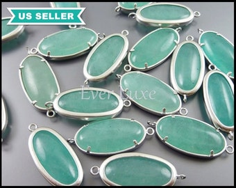 2 Amazonite color / dyed jade stonesstone with loops, smooth oval stones, green turqoise / mint green colored stones 5120MR-AZ