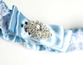 Blue Lace Garter with Rhinestones