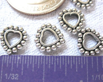 Heart Spacer Bead Tibetan Silver Jewelry Supply 5 pieces