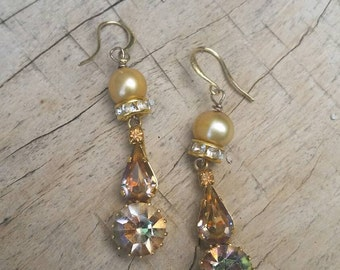 Vintage Upcycled Gold Freshwater Pearls and AB Topaz Rhinestone Assemblage Earrings, ooak,Repurposed