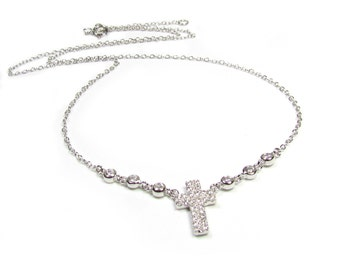 CZ Cross with Bezel Set Stations Necklace in Sterling Silver