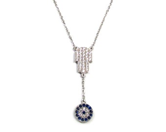 CZ Pave Hamsa Hand with Dangling Evil Eye Necklace
