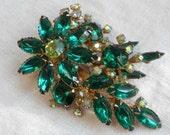 Emerald Green Rhinestone Floral Spray Aurora Borealis Accents
