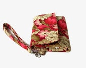 Red Floral Cushioned Phone Wristlet Wallet - Women's Phone Trifold Wallet - Padded Wristlet - Smartphone Wristlet Wallet - Detachable Strap