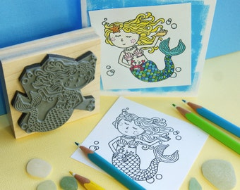 Colour-Me-In Mermaid Rubber Stamp  - Colouring In - Adult Colouring In  - Color In - Nautical Rubber Stamp - Girl Rubber Stamp - Beach