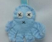 Light blue felt octopus love keychain, octopus