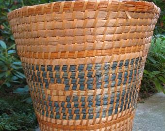Vintage Basket - Waste Basket - Plant Basket - Natural Fiber - Hand Woven Basket - Vintage - Shabby - Cottage Chic - Rustic - Multi Color