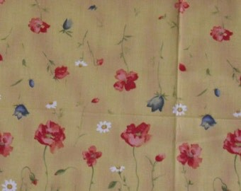 Golden Yellow Cotton Fabric~Poppies ~ Daisies & Tulips in Red, White and Blue~ By the Yard