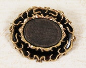 Antique Victorian 10K Gold Black Enamel Woven Brown Hair Mourning Brooch
