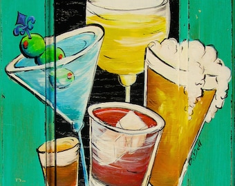 """BAR SIGN* DRINKS* whimsical saying  and mixed Drinks**  11"""" x17"""" Print of Original Art on a Cabinet Door"""