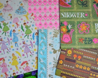 Lot of Vintage 1960s and 1970s Gift Wrap
