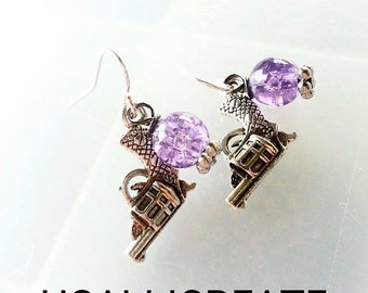 Purple Revolver Pistol Earrings - Handmade by Me - Gifts for Her - Hunting Jewelry - Huntress - Outdoor Earrings - Purple Earrings - Pistols