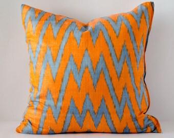 15x15 orange blue ikat pillow cover cushion case, orange, blue, zig zag, pillows, chevron, ikat, chevron ikat, chevron cushion