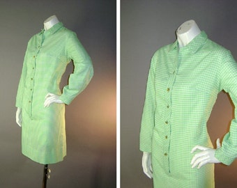 60s dress 1960s vintage DAYGLO GREEN GINGHAM white check mod button shirt dress