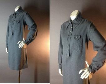 60s dress 1960s vintage GRAY COTTON SILVER button deadstock nos tags shirt dress