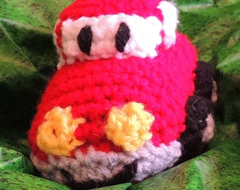Crocheted Stuffed Red 5 Inch Long 3 1/2 Inch High Toy Car
