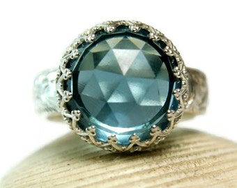 Rose Cut Blue Quartz Ring, Sterling Silver Chunky Stone Ring, Filigree Setting, This Floral Band, custom sized