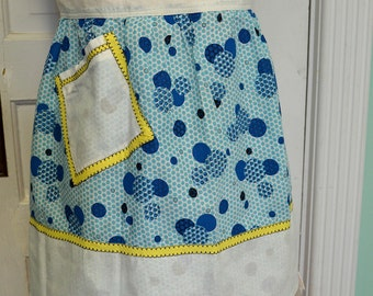 Vintage Apron Blue Yellow White Cotton Polka Dots Circles Handmade