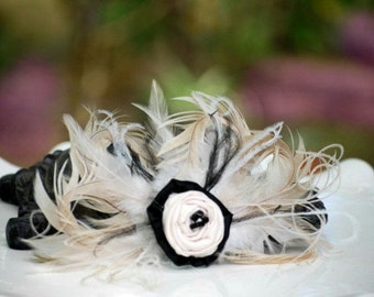Wedding Hair Comb / Clip Champagne Ivory Beige & Black Feathers. Bride Bridal Bridesmaid, Edgy Summer Fashion Brooch Pin, Statement Boudoir