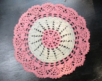 Vintage Pink and White Centerpiece doily