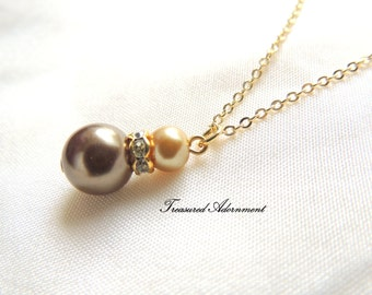 Bridesmaids Necklace, Chocolate Brown and Champagne Gold Glass Pearls Necklace, Bridal Party gift, Wedding Party gift, Ramadan Eid Gift