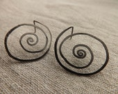 EARRINGS Spiral Handmade Minimal Earrings made of Oxidized Sterling Silver Wire