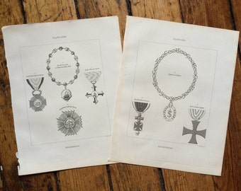 1828 KNIGHTHOOD - 2 heraldic decorations prints original antique heraldry armorial bearings badge engravings - Spain Cyprus momento mori