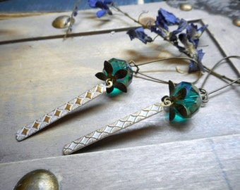 The Paisley Peacock. Sterling Silver, Crystal & Antiqued White Shabby Brass earrings