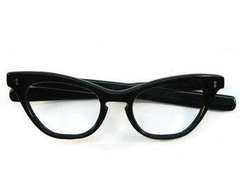 Vintage Black 50s 60s  Star Inlay Cat Eye Eyeglasses Frame NOS