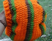 orange green and brown slouch beanie tam hat