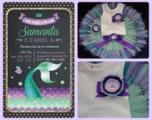 Teal and Purple Mermaid Birthday Dress, Baby Girls Mint Tutu