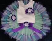 Mermaid Birthday Dress in Purple and Teal Blues, Baby Girls Mermaid Party Dresses